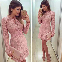 Autumn Fashion Casual Women's Sexy Dresses Party Night Club Dress Fall Long Sleeve Pink Lace Dress
