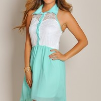 Sleeveless Mint and White Lace Button-Up Maxi High Low Dress