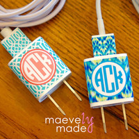 Personalized iPhone Charger Wrap | Monogrammed Charger | Patterned Charger Wrap | Mobile Accessories | Ikat Chevron Quatrefoil Prints