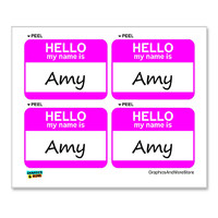 Amy Hello My Name Is - Sheet of 4 Stickers