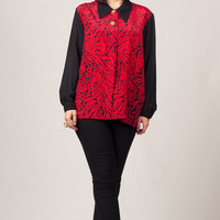80s Red and Black Blouse / Abstract Print Button Up Shirt / Glam Sheer Sleeves Blouse