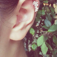 Unique Lined Flower Barbell Cartilage/Helix,Conch,Ear Piercing 16 Gauge(EPC-83),Surgical Steel,Sold by Piece,Single Earring,Silver,Rose Gold