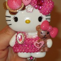 New! Pink! Hello Kitty and Teddy Bear Id Badge Reel Holder SALE