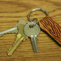 Wood grain leather key chain