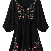 Black V-neck Embroidery 3/4 Sleeve Crepe Detail Dress