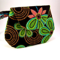 Step into the Twilight Zone... Green, Black and Pink Vector Flower Mini Clutch - Small Clutch
