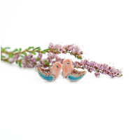 Birds coral blue studs -  ceramic earrings, coral, pastel