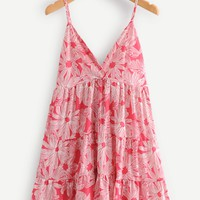 Floral Print Tiered Cami Dress