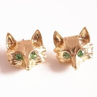 cute fox head earrings gold earrings brass handmade rhinestone earrings ear studs personalized bridesmaid love best friend gifts
