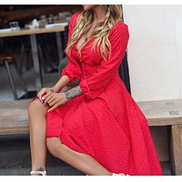 Sexy Red Long Dress For Women Dot Printing Deep V-Neck A-Line Elegant Dress Autumn Winter Party Fashion Clothing