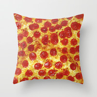 Pepperoni Pizza Throw Pillow by RexLambo