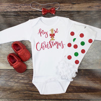 Girl's Christmas Outfit | 'My 1st Christmas' Top with Red and Green Sparkly Dot Leg Warmers | Complete Baby or Toddler Christmas Set