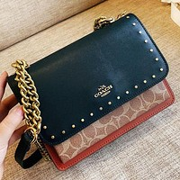 COACH New fashion pattern print chain shoulder bag crossbody bag Black