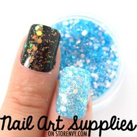 nailartsupplies | Mermaid Scales - Aqua Blue Clear Shimmer Glitter Nail Glitter Mix 3.5 Grams | Online Store Powered by Storenvy