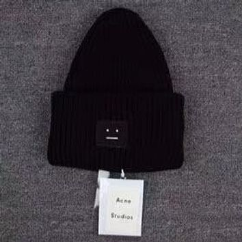 Acne Studios Auckie 8-color smile hat  F Black