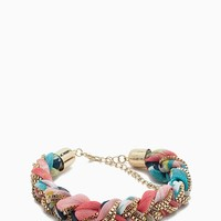 Floral Fabric and Chain Braided Bracelet