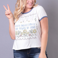 Plus Size Power of Love Tee - White