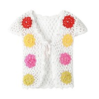 Floral Baby Knitted Vest Tops Clothes for Toddler Girls Handmade Crochet Colorful Flower Pearl Hollow Vest Top Infant Outwear