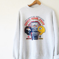 Vintage 1990s Super Bowl XXXII Denver Broncos vs Green Bay Packers Sweatshirt Sz L