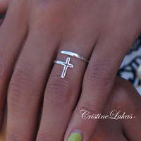 Celebrity Style By-Pass Cross Ring  -  In Sterling Silver or White Gold