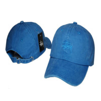 Deenim Blue Stussy Embroidered Adjustable Cotton Baseball Golf Sports Cap Hat