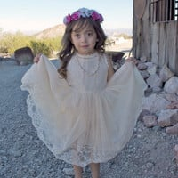 The Kate Lace Antique Ivory or White Tulle Vintage Flower Girl Lace Dress