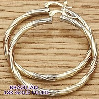 Gold Plated Women Large Hoop, by Folks Jewelry