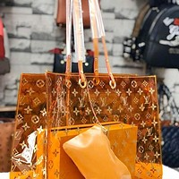 Louis Vuitton LV Fashion Women Shopping Bag Shoulder Bag Satchel Tote Transparent jelly Two-Piece Set