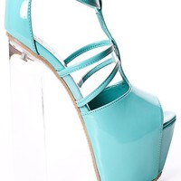 MINT PATENT FAUX LEATHER T STRAP ABSTRACT CLEAR HEELS