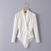 spring women solid color criss-cross long sleeve casual tops padded shoulder white ladies bodysuit female work basic jumpsuits