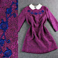 Embroidered Flower Doll Collar  Long  Sleeve Wool Mini Dress