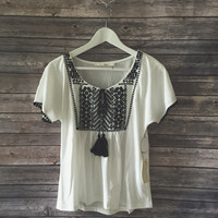 Tillie Tassle Tie Embroidered Top (Ivory)