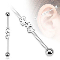 316L Surgical Steel ''Sexy'' Industrial Barbell14g 38mm-1-1/2'' Bar [Jewelry]