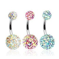 316L Surgical Steel Navel Ring - AB Gems - 14G, 3/8'' Length - Sold as a Set of 3