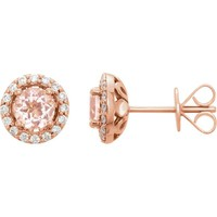 14kt Rose Gold Morganite & 1/5 CTW Diamond Halo Earrings