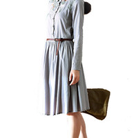 Grey Vintage Pleated Designed Midi Dress