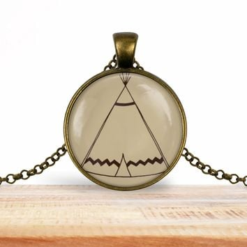 Teepee pendant necklace, choice of silver or bronze, key ring option