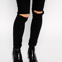 ASOS TALL Ridley High Waist Ultra Skinny Jeans With Busted Knees