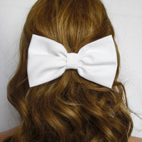 White Hair Bow Clip for Women Teens Girls Hair Accessories Handmade Quality fabric Girly Cute Timeless Lolita Gifts under 10 Bridesmaid Gift