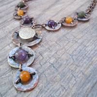 Hammered copper, mixed metal and bead necklace with amethyst, quartzite and green stone accent beads, handmade chain