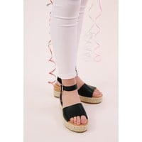 Leading Platform Espadrille Sandal, Black Burnish