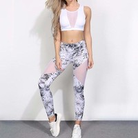 Mesh Patchwork 2 Two Piece Crop Top and Pants Set