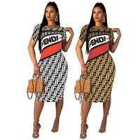 Fendi women New fashion more letter print shorts sleeve dress