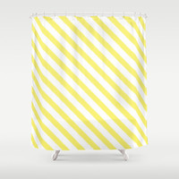 Shower Curtain - Yellow Ikat Stripes - Dorm Shower Curtain - Glamour Decor - Bathroom Shower Curtain - Teen Room Decor - Yellow