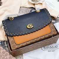 COACH  New fashion leather chain rivets  shoulder bag crossbody bag