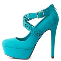 Crisscrossing Laser Cut-Out Platform Pumps by Charlotte Russe