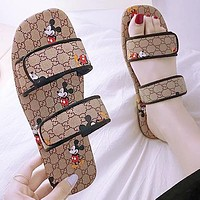 Gucci Mickey slippers 2020 sandals flat casual printed shoes khaki