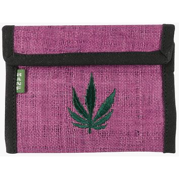 Pot Leaf Logo Pink Hemp Wallet