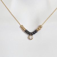 Black and gold, Cubic, Bead bar, Gold chain, Necklace, Black, Gold, Beeds, Cubic, Necklace, Beautiful, Modern, Bead, Gift, Jewelry