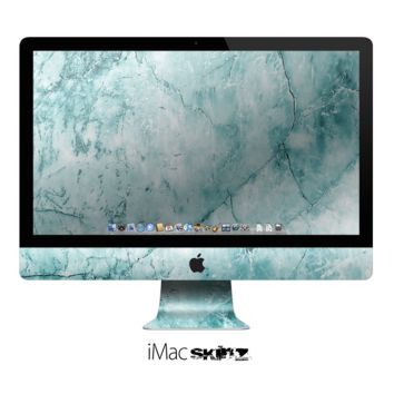 The Cracked Turquoise Marble Surface Apple iMac Desktop Computer Skin